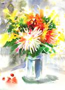 Watercolor drawing of a bouquet with chrysanthemum Stock Illustration