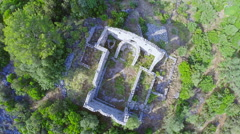 Early Christian ruins on top of the hill Stock Footage