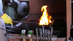 Working forge of the blacksmith in old shop. Stock Footage