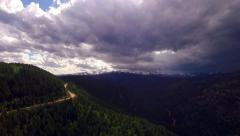 Storm Approaching on a Mountain Road - stock footage