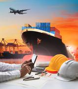 hand of working man in shipping ,logistic freigh cargo transport business - stock photo