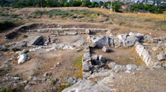 archaeological excavations of the ancient city - stock footage