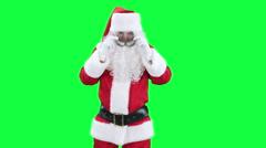 Santa Claus funny pilot chroma key (green screen) - stock footage