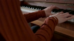 Piano Playing Close-Up on Slider, Young Female Pianist Practicing Stock Footage