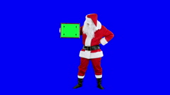 Santa Claus demonstrates frame for tracking chroma key (blue screen) - stock footage