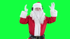 Santa Claus in headphones chroma key (green screen) Stock Footage