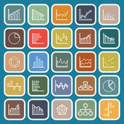Graph line flat icons on blue background Stock Illustration