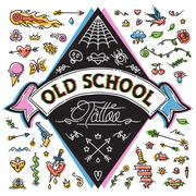 Stock Illustration of Funny Old School Tattoo Set