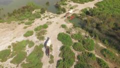 AERIAL: Mares and foals in the wild Stock Footage
