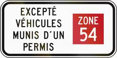 Except Vehicles With License Zone 54 in Canada Stock Illustration