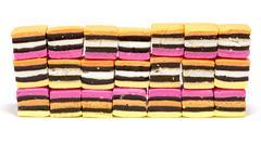 Licorice allsorts wall Stock Photos