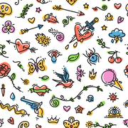 Stock Illustration of Colorful Funny Old School Tattoo Seamless Pattern