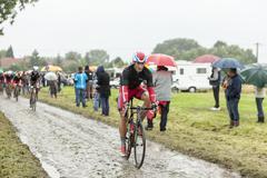The Cyclist Gatis Smukulis  on a Cobbled Road - Tour de France 2014 - stock photo