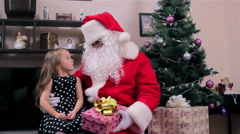Santa and little girl Stock Footage