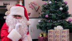 Santa Claus with a gift box Stock Footage