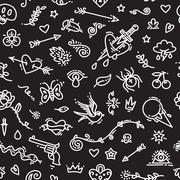 Old School Tattoo Seamless Pattern on Dark - stock illustration