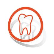 Stock Illustration of Tooth sign sticker, orange