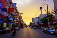 Korat downtown street at dusk - stock photo