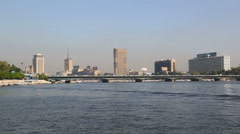 View of Cairo from boat sailing on Nile river Stock Footage