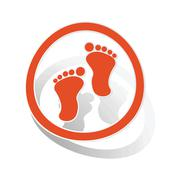 Stock Illustration of Footprint sign sticker, orange
