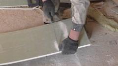 Work saws plaster sheet saw - stock footage