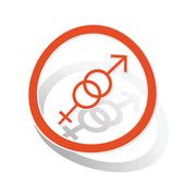 Gender symbols sign sticker, orange - stock illustration