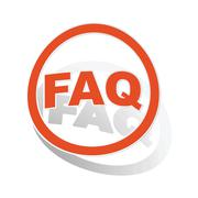 FAQ sign sticker, orange - stock illustration