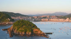 San Sebastian in a summer evening Stock Footage