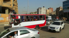 View from window of bus on streets of Cairo Stock Footage