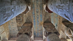 Interior of Dendera Temple in Egypt Stock Footage