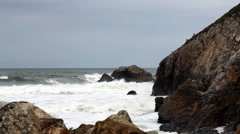 Moderate Waves Coming Into Rocky Cove Northern California Stock Footage