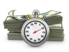 Stock Illustration of stopwatch and  banknotes