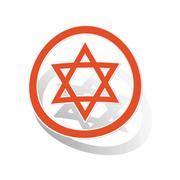 David Star sign sticker, orange Stock Illustration