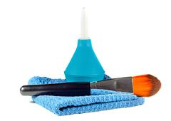 Enema and cosmetic brush and cloth - stock photo