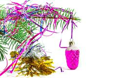 On spruce branch Christmas toy - stock photo