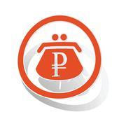 Rouble purse sign sticker, orange - stock illustration