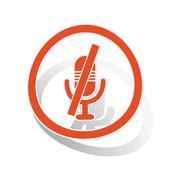 Muted microphone sign sticker, orange Piirros