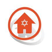 Jewish house sign sticker, orange - stock illustration