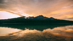 4K Timelapse of Patricia lake in Jasper national park at sunset Stock Footage