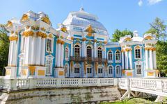 Hermitage Pavilion in the Catherine Park, Tsarskoye Selo, St Petersburg, Russ - stock photo