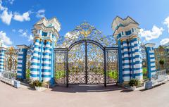 Openwork lattice of Catherine Palace - the summer residence of the Russian ts - stock photo