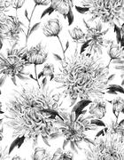 Vintage Monochrome Watercolor Floral Seamless Background  with C Stock Photos