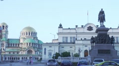Fast motion day to night in the center of Sofia with a cultural monument Stock Footage