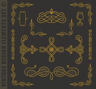 Calligraphic design elements. Vector baroque set Piirros