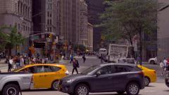 Urban Manhattan scenery street traffic buildings New York City NYC cars day - stock footage