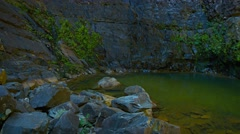 Natural Pond at the Base of a Sheer Cliff Stock Footage