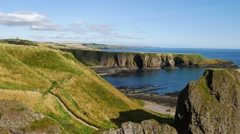 Beautiful landscape of hill and rock at Dunnottar castle area Stock Footage