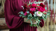 bride holding a wedding bouquet 4 - stock footage