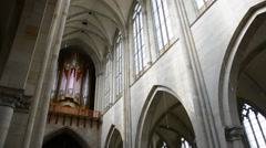 Inside Cathedral of Magdeburg at river Elbe, Germany Stock Footage