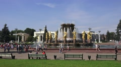 The People's Friendship Fountain (in 4k) in VDNKh, Moscow, Russia. Stock Footage